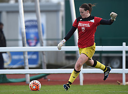 Hannah Reid goalkeeper for Bristol City Women warms up before the FA Cup third round game between Bristol City Women and QPR Ladies on 14 February 2016 in Bristol, England - Mandatory by-line: Paul Knight/JMP - Mobile: 07966 386802 - 14/02/2016 -  FOOTBALL - Stoke Gifford Stadium - Bristol, England -  Bristol Academy Women v QPR Ladies - FA Cup third round