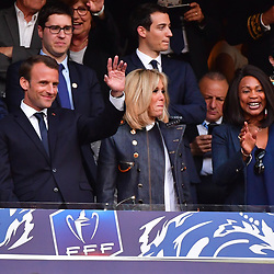 (L-R) French president Emmanuel Macron, his wife Brigitte and French sports minister Laura Flessel during the French Cup Final between Les Herbiers and Paris Saint Germain at Stade de France on May 8, 2018 in Paris, France. (Photo by Dave Winter/Icon Sport)