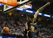 April 17, 2017 - Cleveland, OH, USA - Indiana Pacers forward Paul George comes off a dunk against the Cleveland Cavaliers during the first quarter in Game 2 of an Eastern Conference playoff game on Monday, April 17, 2017, at Quicken Loans Arena in Cleveland, Ohio. (Credit Image: © Leah Klafczynski/TNS via ZUMA Wire)