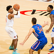 27 February 2018: San Diego State men's basketball hosts Boise State in it's last meet up of the regular season at Viejas Arena. San Diego State Aztecs guard Devin Watson (0) looks to take a three point shot in the first half. The Aztecs lead 38-37 at halftime. <br /> More game action at sdsuaztecphotos.com