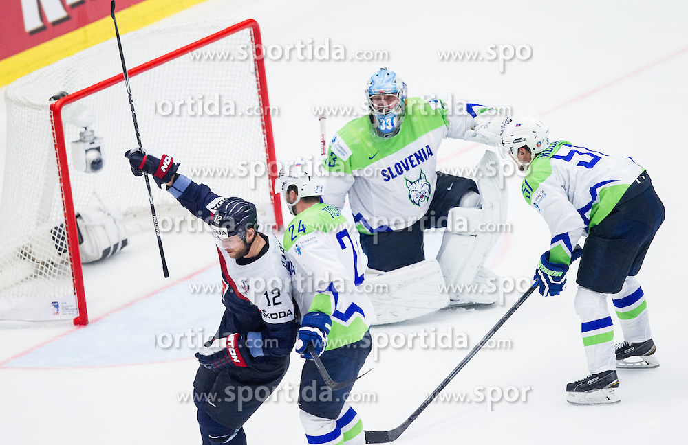 Marian Gaborik of Slovakia celebrates after scorn second goal for Slovakia against Robert Kristan of Slovenia  during Ice Hockey match between Slovakia and Slovenia at Day 5 in Group B of 2015 IIHF World Championship, on May 5, 2015 in CEZ Arena, Ostrava, Czech Republic. Photo by Vid Ponikvar / Sportida