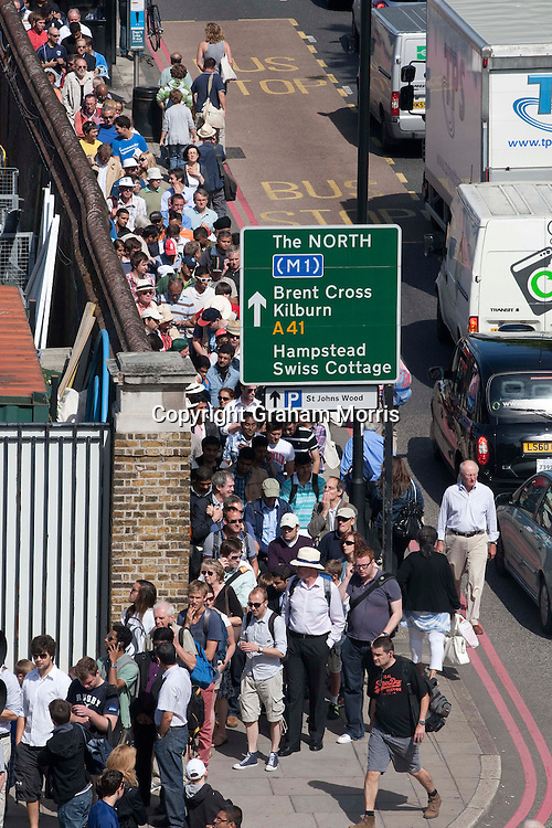 The queue around the ground to get to see the last day of the first npower Test Match between England and India at Lord's Cricket Ground, London.  Photo: Graham Morris (Tel: +44(0)20 8969 4192 Email: sales@cricketpix.com) 25/07/11