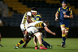 Charlie Hewitt of Worcester Cavaliers is tackled - Mandatory by-line: Robbie Stephenson/JMP - 03/04/2017 - RUGBY - Sixways Stadium - Worcester, England - Worcester Cavaliers v Wasps A - Aviva A League