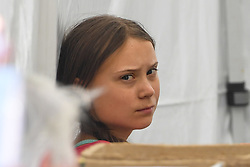 © Licensed to London News Pictures. 20/09/2019. New York, USA  Greta Thunberg backstage prepares to address a crowd of 60,000 in Battery Park, New York City, at the conclusion of international day of protest focusing on climate change. photo credit: Guilhem Baker/LNP