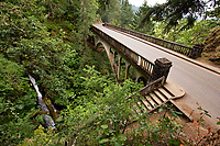 Shepperd's Dell Bridge on a damp morning along with Historic Columbia River Highway
