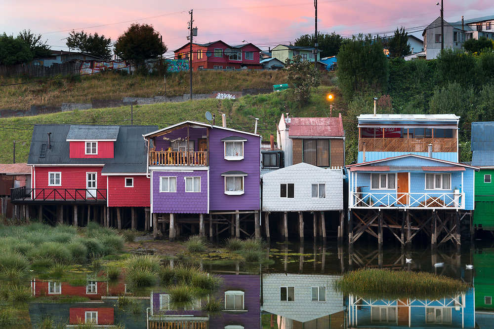 Castro, Chiloe Island, Chile - January 29, 2016: Palafitos pedro montt, traditional stilts houses of the island.