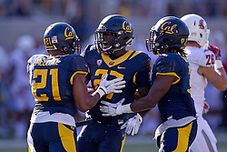 BERKELEY, CA - OCTOBER 03:  Safety Damariay Drew #27 of the California Golden Bears is congratulated by safety Stefan McClure #21 and cornerback Cameron Walker #3 after intercepting a pass against the Washington State Cougars during the fourth quarter at California Memorial Stadium on October 3, 2015 in Berkeley, California. The California Golden Bears defeated the Washington State Cougars 34-28. (Photo by Jason O. Watson/Getty Images) *** Local Caption *** Damariay Drew; Stefan McClure; Cameron Walker