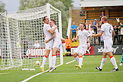 Luton Town players celebrate after Luton Town defender Glen Rea (16) scores the first goal during the EFL Sky Bet League 2 match between Cambridge United and Luton Town at the R Costings Abbey Stadium, Cambridge, England on 27 August 2016. Photo by Nigel Cole.