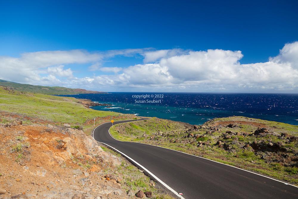 Maui, Hawaii. The road beyond Kaupo, heading towards Ulupalakua, is nicely paved and shows how Haleakala slopes gently downward into the ocean.