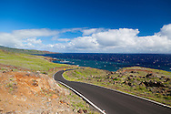 Maui, Hawaii. The road beyond Kaupo, heading towards Ulupalakua, is nicely paved and shows how Haleakala slopes gently downward into the ocean.