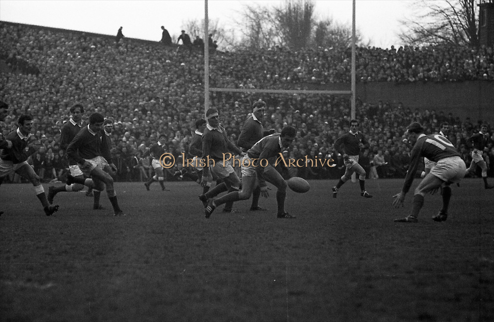 Irish Rugby Football Union, Ireland v Wales, Five Nations, Landsdowne Road, Dublin, Ireland, Saturday 9th March, 1968,.9.3.1968, 3.9.1968,..Referee- M H Titcomb, Rugby Football Union, ..Score- Ireland 9 - 6 Wales, ..Irish Team, ..T J Kiernan,  Wearing number 15 Irish jersey, Captain of the Irish team, Full Back, Cork Constitution Rugby Football Club, Cork, Ireland,..A T A Duggan, Wearing number 14 Irish jersey, Right Wing, Landsdowne Rugby Football Club, Dublin, Ireland,..B A P O'Brien, Wearing number 13 Irish jersey, Right Centre, Shannon Rugby Football Club, Limerick, Ireland,..F P K Bresnihan, Wearing number 12 Irish jersey, Left Centre, University College Dublin Rugby Football Club, Dublin, Ireland, ..J C M Moroney, Wearing number 11 Irish jersey, Left Wing, London Irish Rugby Football Club, Surrey, England, ..C M H Gibson, Wearing number 10 Irish jersey, Stand Off, N.I.F.C, Rugby Football Club, Belfast, Northern Ireland, ..R M Young, Wearing number 9 Irish jersey, Scrum Half, Queens University Rugby Football Club, Belfast, Northern Ireland,..K G Goodall, Wearing number 8 Irish jersey, Forward, City of Derry Rugby Football Club, Derry, Northern Ireland,..T J Doyle, Wearing number 7 Irish jersey, Forward, Wanderers Rugby Football Club, Dublin, Ireland, ..M G Doyle, Wearing number 6 Irish jersey, Forward, Blackrock College Rugby Football Club, Dublin, Ireland, ..W J McBride, Wearing number 5 Irish jersey, Forward, Ballymena Rugby Football Club, Antrim, Northern Ireland,..M G Molloy, Wearing number 4 Irish jersey, Forward, University College Galway Rugby Football Club, Galway, Ireland,  ..P O'Callaghan, Wearing number 3 Irish jersey, Forward, Dolphin Rugby Football Club, Cork, Ireland, ..A M Brady, Wearing number 2 Irish jersey, Forward, Malone Rugby Football Club, Belfast, Northern Ireland, ..S Millar, Wearing number 1 Irish jersey, Forward, Ballymena Rugby Football Club, Antrim, Northern Ireland,..D Rees, Wearing number 15 Welsh jersey, Full Back, Swansea Rugby F