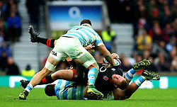 Dylan Hartley of England is tackled - Mandatory by-line: Robbie Stephenson/JMP - 11/11/2017 - RUGBY - Twickenham Stadium - London, England - England v Argentina - Old Mutual Wealth Series
