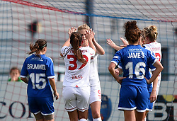 Liverpool Ladies players celebrates Natasha Dowie's opening goal against Bristol Academy Women - Mandatory by-line: Paul Knight/JMP - Mobile: 07966 386802 - 13/09/2015 -  FOOTBALL - Stoke Gifford Stadium - Bristol, England -  Bristol Academy Women v Liverpool Ladies FC - FA WSL Continental Tyres Cup