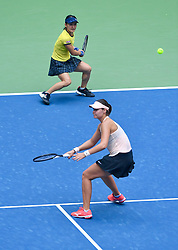 WUHAN, Sept. 28, 2018  Shuko Aoyama (top) of Japan and Lidziya Marozava of Belarus compete during the doubles semifinal match against Elise Mertens of Belgium and Demi Schuurs of the Netherlands at the 2018 WTA Wuhan Open tennis tournament in Wuhan, central China's Hubei Province, on Sept. 28, 2018. Elise Mertens and Demi Schuurs won 2-1. (Credit Image: © Jiang Kehong/Xinhua via ZUMA Wire)