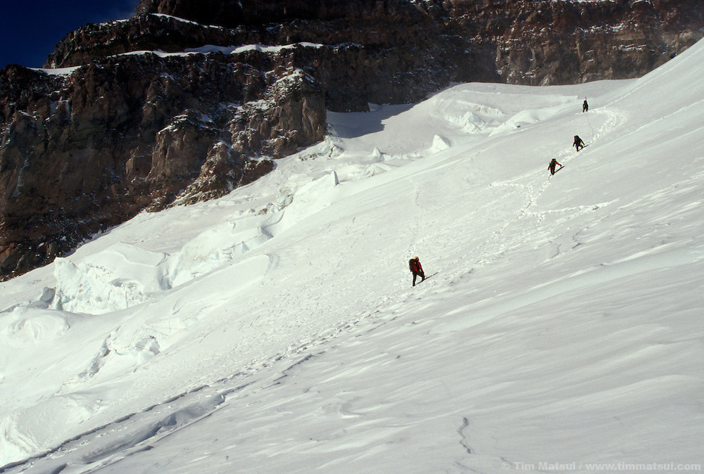 Climbers on a winter ascent of Mt. Rainier via the Ingraham Glacier Direct.