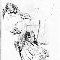 Sketchbook drawing of elderly male figure relaxing in chair
