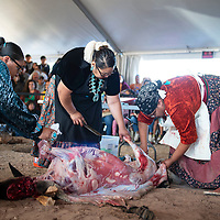 Miss Navajo Nation Pageant contestant Kayla Martinez of Window Rock right,, participates in the butchering competition Monday, Sept. 2 in Window Rock at the Navajo Nation Fair.
