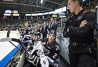 KELOWNA, CANADA - SEPTEMBER 25: Justin Kirkland #23 of Kelowna Rockets speaks to equipment manager Chadyn Johnson on the bench against the Kamloops Blazers on September 25, 2015 at Prospera Place in Kelowna, British Columbia, Canada.  (Photo by Marissa Baecker/Shoot the Breeze)  *** Local Caption *** Justin Kirkland; Chaydyn Johnson;