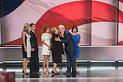 Gov. Mike Pence is joined onstage by his family after accepting the nomination as GOP Vice Presidential  candidate during the third day of the Republican National Convention July 20, 2016 in Cleveland, Ohio.
