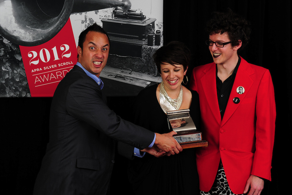 Te Awanui Reeder, Stephanie Brown and Alex Taylor at the APRA Silver Scroll Awards 2012. Auckland Town Hall. 13 September 2012.