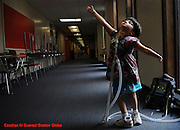 Newton, Ma 072308   Six-year old Jessica Leahey, who uses a respirator hooked up to her through a tracheotomy,  shows off her ballet moves while at summer camp at the Day Middle School in Newton on July 23, 2008. She suffers from  Moebius syndrome may  shows symptomsthat  may include:..o.Deformed tongue and jaw..o.Hand or foot deformities (one third or more of cases), such as club foot or missing fingers..o.Low muscle tone, meaning the child has trouble sitting or crawling..o.Swallowing or breathing problems (Essdras M Suarez/Boston Globe)/ Metro...