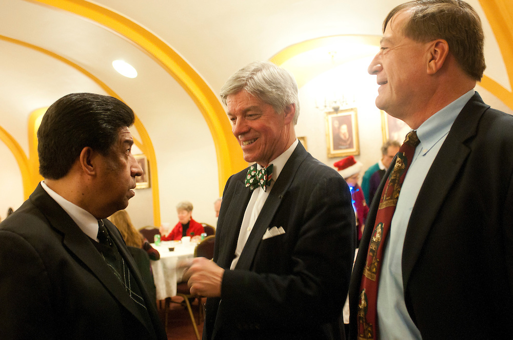 "Cook County Deputy Assessor of Legal Thaddeus ""Ted"" J. Makarewicz (center) chats with Illinois Appellate Court Justice Jesse G. Reyes (left) and Retired Cook County Circuit Court Judge John A. Wasilewski during a Holiday Meeting of The Advocate Society/Association of Polish-American Attorneys at the Copernicus Foundation on Friday, December 21st. © 2012 Brian J. Morowczynski ViaPhotos"