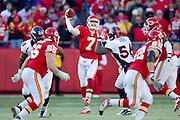 KANSAS CITY, MO - DECEMBER 5:   Matt Cassel #7 of the Kansas City Chiefs throws a pass against the Denver Broncos on December 5, 2010 at Arrowhead Stadium in Kansas City, Missouri.  The Chiefs defeated the Broncos 10-6.  (Photo by Wesley Hitt/Getty Images) *** Local Caption *** Matt Cassel