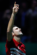 Novak Djokovic of Serbia celebrates the victory after his match played against Yoshihito Nishioka of Japan during the Davis Cup 2019, Tennis Madrid Finals 2019 on November 20, 2019 at Caja Magica in Madrid, Spain - Photo Oscar J Barroso / Spain ProSportsImages / DPPI / ProSportsImages / DPPI