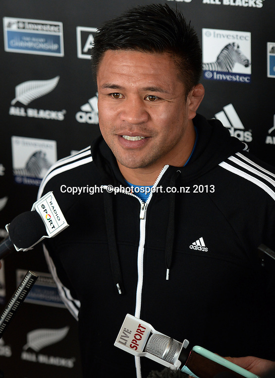 Keven Mealamu talks to the assembled media. All Blacks wider training group camp ahead of the Rugby Championship at the Spencer on Byron Hotel in Takapuna, Auckland on Wednesday 31 July 2013. Photo: Andrew Cornaga/ www.photosport.co.nz