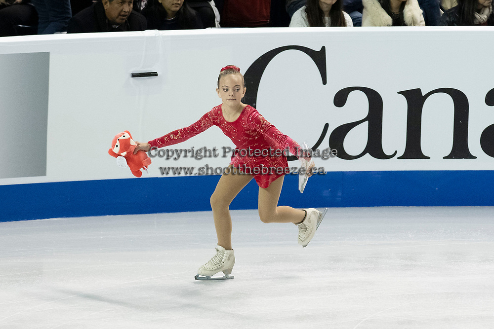 KELOWNA, BC - OCTOBER 26: A young skater clears the ice during Skate Canada International at Prospera Place on October 25, 2019 in Kelowna, Canada. (Photo by Marissa Baecker/Shoot the Breeze)