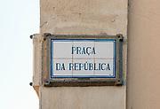 painted ceramic street sign at Praca da Republica, (Republic square), Aveiro, Portugal