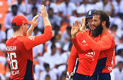 October 20, 2018 - Kandy, Sri Lanka - England cricketer Moeen Ali celebrates after taking a wicket during the 4th One Day International cricket match between Sri Lanka and England at the Pallekele International Cricket Stadium  Sri Lanka. Saturday 20 October 2018  (Credit Image: © Tharaka Basnayaka/NurPhoto via ZUMA Press)