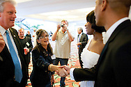 ORLANDO, FL - AUGUST 14:  Celebrity impersonator Patsy Gilbert meets with Ron Butler (R) and Vernetta Jenkins and Dale Leigh (L) during the Sunburst Convention of Celebrity Tribute Artists in Orlando, Florida, August 14, 2009. The annual convention offers the artists an opportunity to perform for agents and other talent buyers. (Photo by Matt Stroshane/Getty Images)
