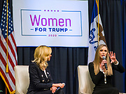 16 JANUARY 2020 - DES MOINES, IOWA: KAYLEIGH MCENANY, national press secretary for the Donald Trump 2020 presidential campaign, and LARA TRUMP, wife of Eric Trump and campaign advisor to President Donald Trump, her father-in-law, speak about the importance of reelecting Pres. Trump at the Women for Trump rally in Airport Holiday Inn in Des Moines. About 200 women attended the event, which featured Lara Trump, Mercedes Schlapp, and Kayleigh McEnany, surrogates on the campaign trail for President Donald Trump.          PHOTO BY JACK KURTZ
