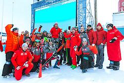 17.02.2019, Aare, SWE, FIS Weltmeisterschaften Ski Alpin, Slalom, Herren, Siegerehrung, im Bild v.l.: Silbermedaillengewinner Michael Matt (AUT), Weltmeister und Goldmedaillengewinner Marcel Hirscher (AUT), Bronzemedaillengewinner Marco Schwarz (AUT) mit Team // f.l.: Silver medalist Michael Matt of Austria World champion and gold medalist Marcel Hirscher of Austria Bronze medalist Marco Schwarz of Austria with Team during the winner Ceremony for the men's Slalom of FIS Ski World Championships 2019. Aare, Sweden on 2019/02/17. EXPA Pictures © 2019, PhotoCredit: EXPA/ Dominik Angerer