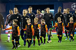 Players entering the pitch before during football match between GNK Dinamo Zagreb and Manchester City in 6th Round of UEFA Champions league 2019/20, on December 11, 2019 in Maksimir, Zagreb, Croatia. Photo by Blaž Weindorfer / Sportida