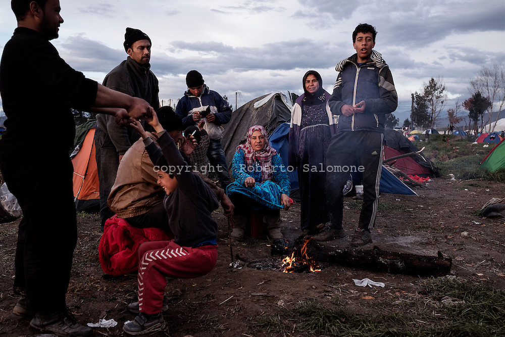Greece, Idomeni - More than 10.000 refugees and migrats are stuck in the makeshift camp at the Greek Macedonian border near the town of Idomeni in northern Greece. The European Union should close the balcan route forcing thousands of refugees to stay in Greece until a new route will open. Ph. Roberto Salomone