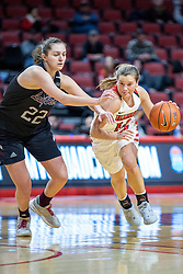 NORMAL, IL - February 27: Paige Saylor defended by Alexa Willard during a college women's basketball game between the ISU Redbirds and the Bears of Missouri State February 27 2020 at Redbird Arena in Normal, IL. (Photo by Alan Look)