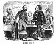 Unification of Italy: Garibaldi asking Victor Emmanuel II if he will carry on the 'game' for Italy, while on left Pope Pius IX realises he has a weak hand and on the right Leopold II, Grand Duke of Tuscany, sees himself losing his crown. Cartoon from 'Punch', 27 October 1860. Wood engraving.