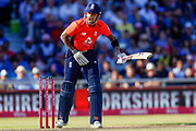 England T20 batsman Alex Hales feels the pain of a delivery during the International T20 match between England and India at Old Trafford, Manchester, England on 3 July 2018. Picture by Simon Davies.