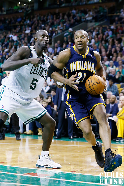 04 January 2013: Indiana Pacers power forward David West (21) drives past Boston Celtics power forward Kevin Garnett (5) during the Boston Celtics 94-75 victory over the Indiana Pacers at the TD Garden, Boston, Massachusetts, USA.