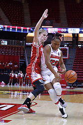 01 January 2017: Viria Livingston & Anneke Schlueter during an NCAA Missouri Valley Conference Women's Basketball game between Illinois State University Redbirds the Braves of Bradley at Redbird Arena in Normal Illinois.