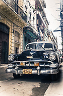 Havana Cuba, Street Scene with Antique Black Car