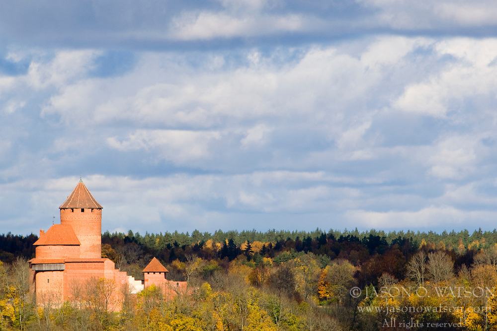 Turaida Castle sits a top the Guaja River Valley, near Sigulda, Latvia