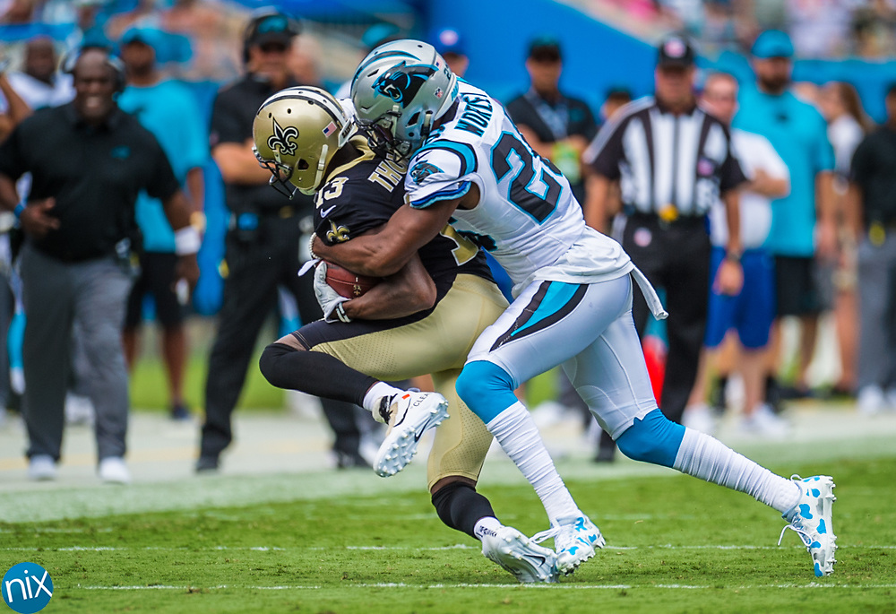 Carolina Panther Daryl Worley (26) makes a tackle against the New Orleans Saints at Bank of American Stadium on Sunday, September 24, 2017 in Charlotte, NC.