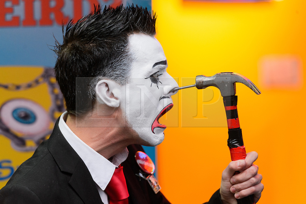 © Licensed to London News Pictures. 25/10/2016.Carl Skenes (R) of 20 Penny Circus and nail insertion into nose stunt at the launch of Ripley's Believe It or Not! 2017 Annual. London, UK. Photo credit: Ray Tang/LNP