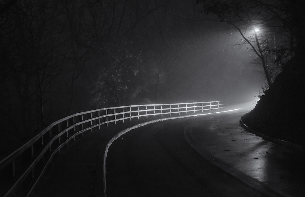 Night fog and Oella Ave. bend.