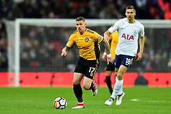 February 7, 2018 - London, United Kingdom - Scot Bennett of Newport County in action during the FA Cup Fourth Round replay match between Tottenham Hotspur and Newport County at Wembley stadium, London, England on 10 Feb  2018. (Credit Image: © Kieran Galvin/NurPhoto via ZUMA Press)