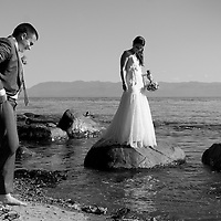 Travis and Amy's portrait session along the Pacific Ocean's Salish Sea at their Vancouver Island wedding.