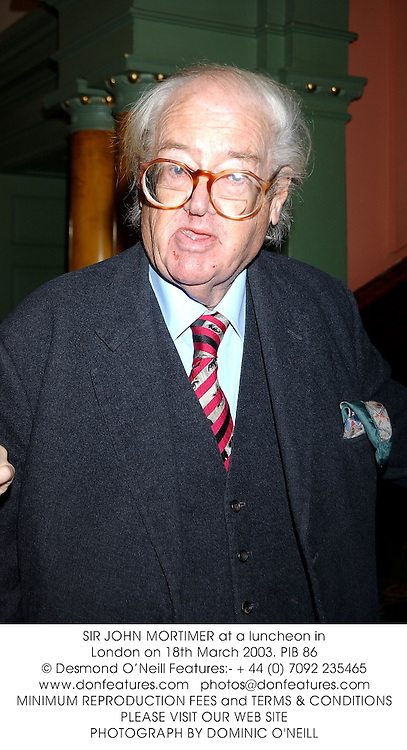 SIR JOHN MORTIMER at a luncheon in London on 18th March 2003.	PIB 86